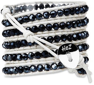 Carbon-Hermatite Crystal by H2Z - Wrap Bracelets - 35 inch Hematite Crystal Beads w/  White Leather Wrap Bracelet