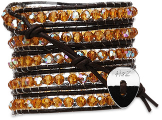 Desert Gold-Amber Crystal by H2Z - Wrap Bracelets - 35 inch Amber Crystal Beads w/ Brown Leather Wrap Bracelet