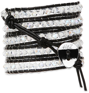 Crystal Clear-Clear Crystal by H2Z - Wrap Bracelets - 35 inch Clear Crystal Beads with Black Leather Wrap Bracelet