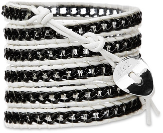 Rock Star-Black Alum Chain by H2Z - Wrap Bracelets - 35 inch Black Aluminum Chain w/  White Leather Wrap Bracelet