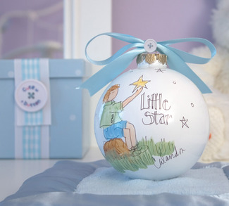 "Little Star by Cute as a Button - 4"" Glass Ball/Boy"