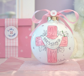 "Blessings (Girl) by Cute as a Button - 4"" Glass Ball/Pink Cross"