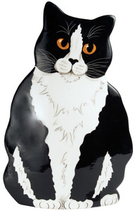 "Jacquelyn - Tuxedo by Rescue Me Now - 11.5"" Large Cat Vase"
