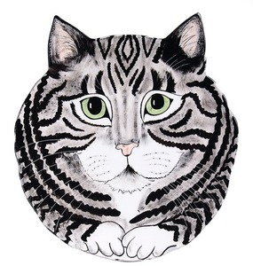 "Rascal - Gray Tabby by Rescue Me Now - 10.75"" Cat Plate"