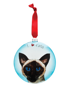 "Theo - Siamese Cat by Rescue Me Now - 5"" Glass Christmas Ornament"