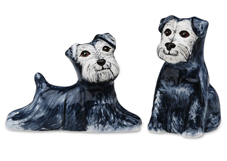 "Isabelle & Rudy-Schnauzer by Rescue Me Now - 3.25"" Dog S & P Shaker Set"