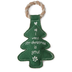 "Christmas Tree by Pavilion's Pets - 12"" Canvas Dog Toy on Rope"
