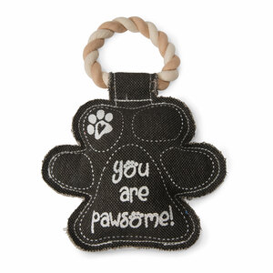 "Paw Print by Pavilion's Pets - 9.5"" Canvas Dog Toy on Rope"