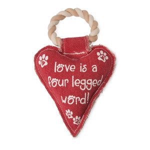 "Heart Love by Pavilion's Pets - 10"" Canvas Dog Toy on Rope"