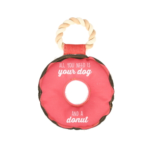 "Dog and a Donut by Pavilion's Pets - 10.75"" Canvas Dog Toy on Rope"