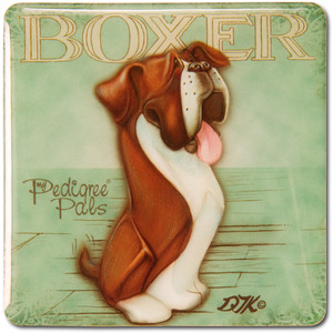 "Boxer by My Pedigree Pals - 2.5"" Square Magnet with Easel Back"
