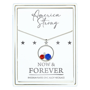 "America Strong by Red, White, & Blue Crew - 16"" - 18"" Rhodium Plated Crystal  Necklace"