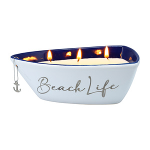 Beach by Red, White, & Blue Crew - Triple Wick 10 oz 100% Soy Wax Candle Scent: Fresh Linen