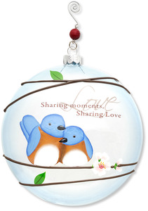 "Love by Peace Love & Birds - 5"" Dia. Glass Ornament"