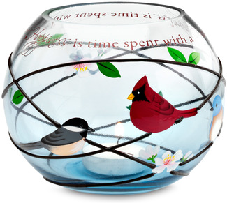 "Friends by Peace Love & Birds - 5"" Round Glass Candle Holder"
