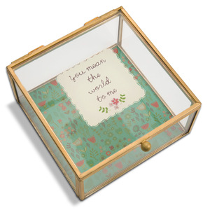 "You Mean The World To Me by A Mother's Love by Amylee Weeks - 4.25"" x 4.25"" Glass Keepsake Box"