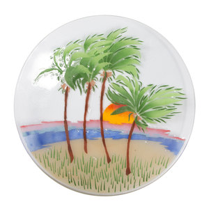 "Palm Trees by Fusion Art Glass - 14"" Round Plate"