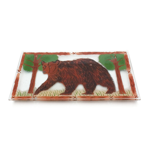 "Bear by Fusion Art Glass - 15"" x 8"" Serving Tray"