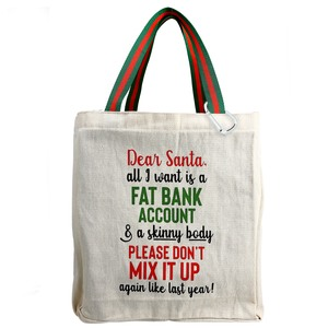 Dear Santa by Check Me Out - 100% Cotton Twill Gift Bag