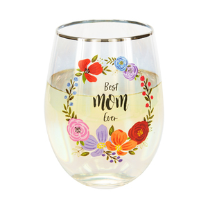 Mom by Bunches of Love - 18 oz Stemless Wine Glass