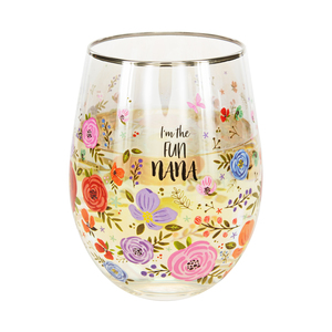 Nana by Bunches of Love - 18 oz Stemless Wine Glass
