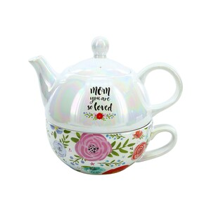Mom by Bunches of Love - Tea for One (14.5 oz Teapot & 10 oz Cup)