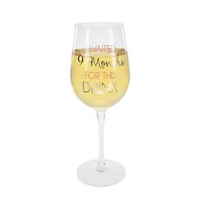 9 Months Pink by Happy Occasions - 16 oz. Crystal Wine Glass