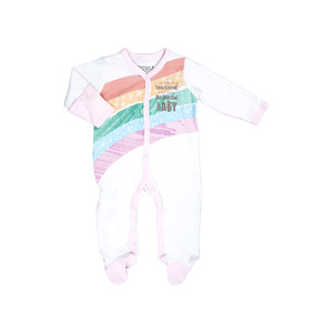 My Sunshine by Sunshine & Rainbows - 0-6 Months Pink Trimmed Sleeper