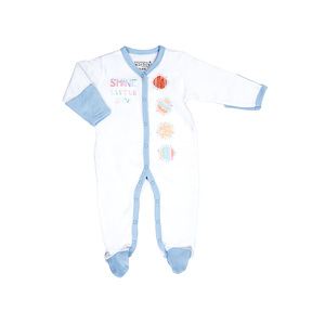Shine Little One by Sunshine & Rainbows - 0-6 Months Blue Trimmed Sleeper