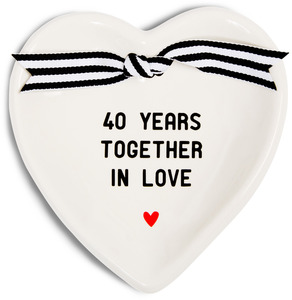 "40th Anniversary by The Milestone Collection - 4.5"" x 4.5"" Heart-Shaped Keepsake Dish"
