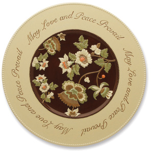 "Love and Peace by Shared Blessings - 15"" Floral Spiritual Platter"