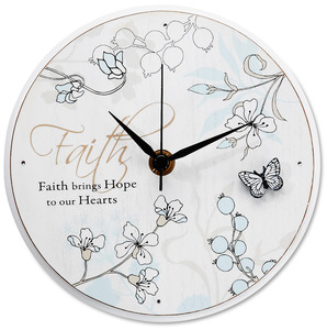 "Faith by Mark My Words - 6"" Self-Standing Round Clock"