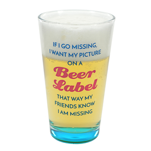 Beer Label by My Kinda Girl - 16 oz Pint Glass Tumbler
