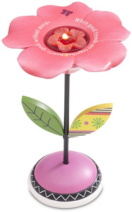 "Good Friends w/TL by Groovy Garden - 7"" Flower Tea Light Holder"