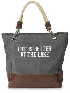 "Life is Better at the Lake by We People - 18"" x 15"" x 6.75"" Large Canvas and Vegan Leather Tote Bag"