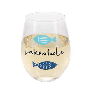 Lakeaholic by We People - 18 oz Stemless Wine Glass
