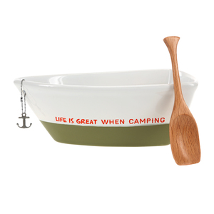 "When Camping by We People - 7"" Boat Serving Dish with Oar"