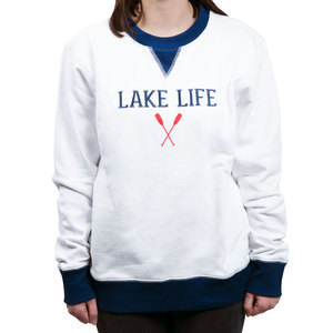 Lake Life by We People - S White Unisex Crewneck Sweatshirt