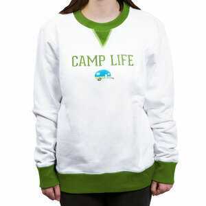 Camp Life by We People - S White Unisex Crewneck Sweatshirt