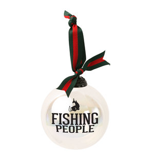 "Fishing People by We People - 4"" Iridescent Glass Ornament"