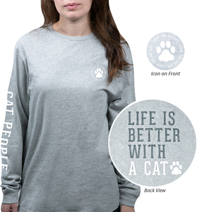 Cat People by We People - Small Heather Gray Unisex Long Sleeve T-Shirt