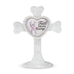 "Courage by Heart Expressions - 4"" Self Standing Cross"