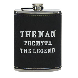 The Legend by Man Crafted - PU Leather & Stainless Steel 8 oz Flask
