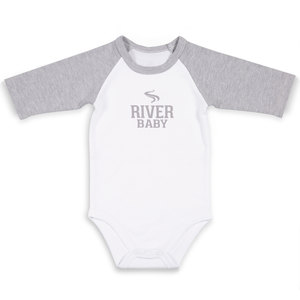 River Baby by We Baby - 6-12 Months 3/4 Length Heather Gray Sleeve Onesie