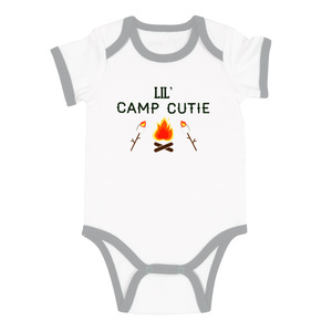 Camp Cutie by We Baby - 6-12 Months Gray Trimmed Bodysuit