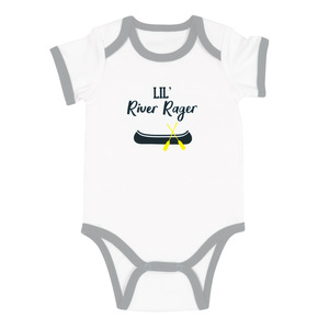 River Rager by We Baby - 6-12 Months Gray Trimmed Bodysuit