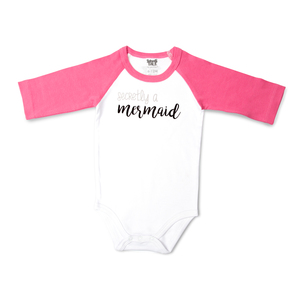 Mermaid by Sidewalk Talk - 6-12 Months 3/4 Length Pink Sleeve Onesie
