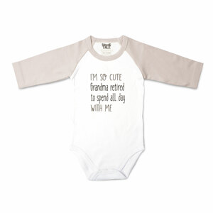 Grandma Retired by Sidewalk Talk - 6-12 Months 3/4 Length Gray Sleeve Onesie