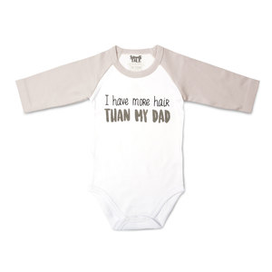 Hair by Sidewalk Talk - 6-12 Months 3/4 Length Gray Sleeve Onesie