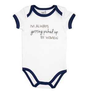 Picked Up by Sidewalk Talk - 6-12 Months Navy Trimmed Onesie